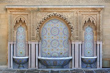 Garden Poster Morocco Fountain at Mausoleum of Mohammed V, Rabat, Morocco