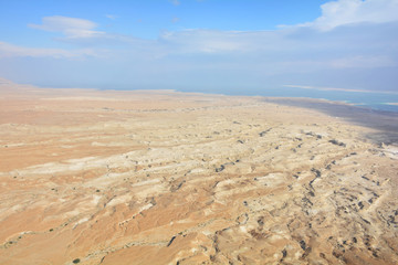 The Dead Sea and desert panoramic view from Masada fortress, Israel