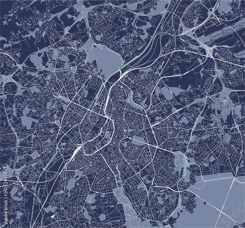 map of the city of Brussels, Belgium\