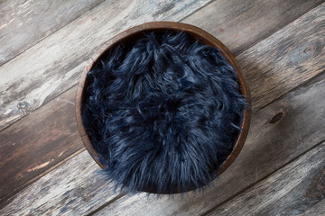 Newborn Digital Background Blue Faux Fur on Weathered Wood