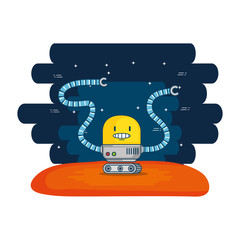 cute robot electronic with universe background