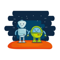couple of cute robots with universe background