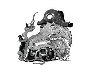 Black and white vector drawing of an octopus in pirate's hat with skull, bottle and smoking pipe (woodcut style)