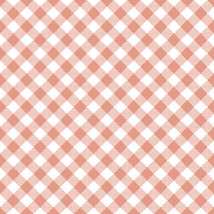 Coral Gingham Seamless Pattern - Diagonal coral and white gingham seamless pattern