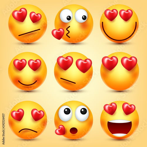 Emoji Smiley With Red Heart Vector Set  Valentines Day