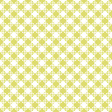 Yellow Gingham Seamless Pattern - Diagonal yellow and white gingham seamless pattern