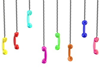 Lots of handsets with black wire. White isolated background