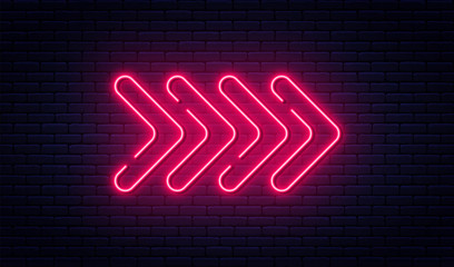Fototapeta Neon arrow sign. Glowing neon arrow pointer on brick wall background. Retro signboard with bright neon tubes obraz
