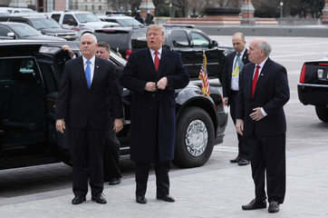 U.S. President Trump arrives with Vice President Pence to address closed Senate Republican policy meeting on Capitol Hill in Washington