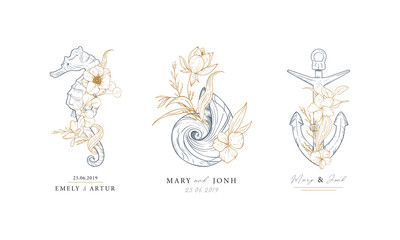 Set of nautical logos. Seahorse, shell and anchor entwined with algae and flowers. Marine logos concept on grunge background. Hand drawn vector illustrations.