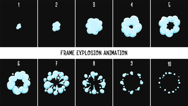 2d classic Animation explosion. Animation of smoke. Sprite for games. - Vector