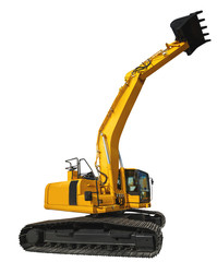 Excavator loader and bucket with clipping path isolated