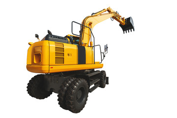 Excavator loader and bucket with clipping path isolated over white background