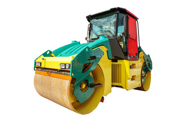 Road roller machine isolated with clipping path over white background