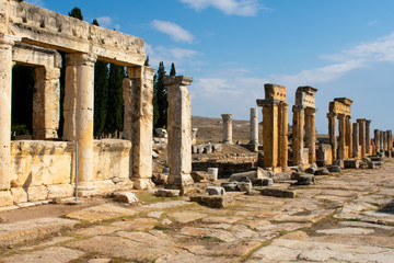 Old ancient ruins of roman City Hierapolis in Pamukkale, Turkey
