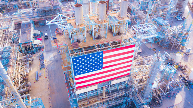 Oil Refinery with American Flag in California