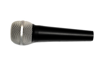 Black microphone, isolate on a white background