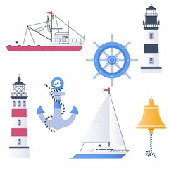 Marine vector set with ships, boats and nautical anchors