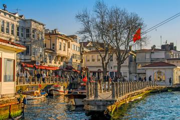 Istanbul, Turkey, 17 April 2009:Bosphorus Mnasions and Boats at Beylerbeyi