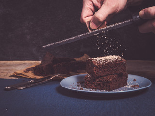how to garnish brownies with fine choclate curls using a grater