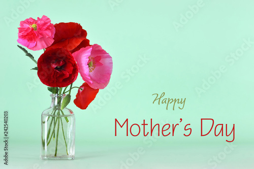 Mothers Day card with poppy flowers in vase