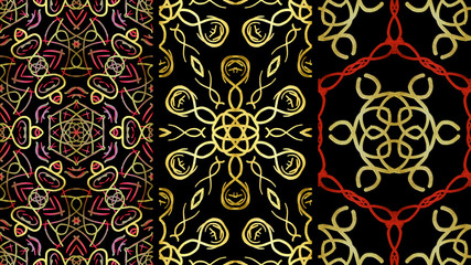 Set Geometric ornament, Floral Pattern. Illustration. For Design, Wallpaper, Background.