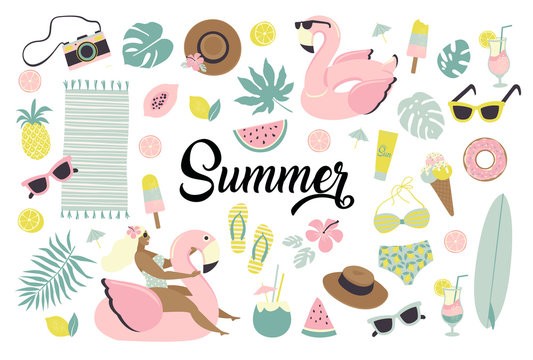 Set of cute summer icons food, drinks, ice cream, fruits, sunglasses, palm leaves and flamingo inflatable swimming pool ring.