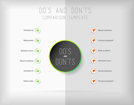 Do's and don'ts  comparison vector template.