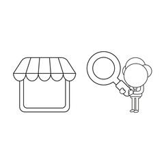 Vector illustration of businessman character holding magnifying glass to shop store. Black outline.