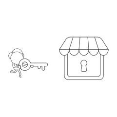 Vector illustration of businessman character carrying key to lock or unlock store keyhole. Black outline.