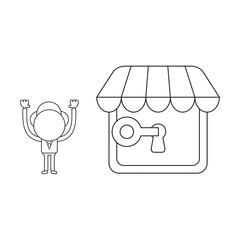 Vector illustration of businessman character lock or unlock store keyhole with key. Black outline.