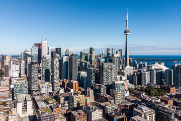 Aerial view of Downtown Toronto, Ontario, Canada.