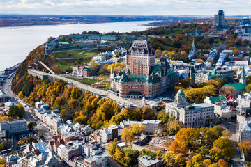 Aerial view of Quebec City showing architectural landmark Frontenac Castle in the Fall season, Quebec, Canada.