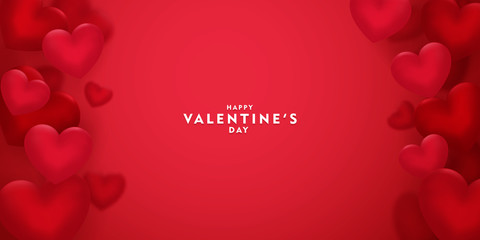 valentines day, 14th February, 3d red hearts blur efect design romantic love day Celebration card vector illustration