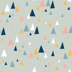 Triangle mountains seamless vector pattern in scandinavian style. Decorative background with landscape elements. Abstract texture gray, pink, teal, blue, white. Use for fabric, digital paper, decor.