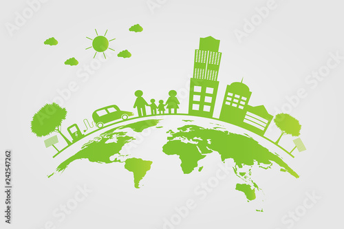 Ecology Green cities help the world with eco-friendly concept ideas