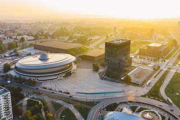 Beautiful sunrise over city center of Katowice