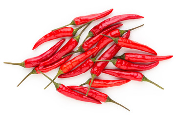 Group of chili peppers isolated on white background.