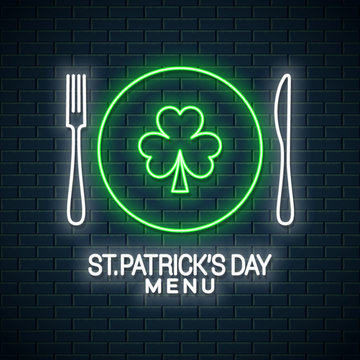 Patrick day neon menu. Fork and knife with plate