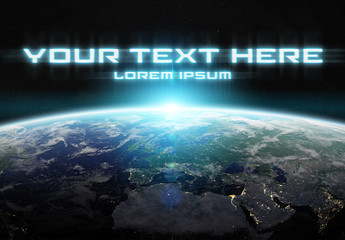 Futuristic Text in Space Mockup
