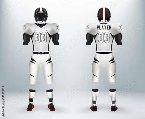 a4cf080bb47 3D realistic of font and back of black and white American rugby football  jersey uniforms sets. Concept for American football apparel mock up for  collage ...