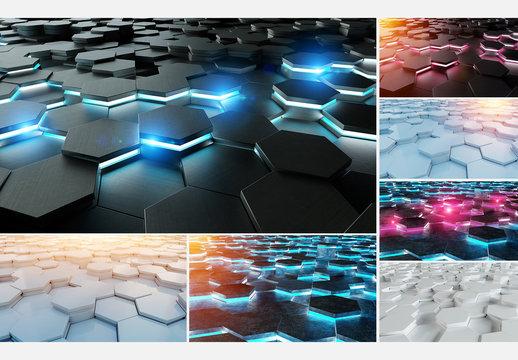 Futuristic Hexagon Background Set