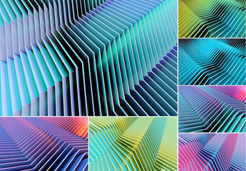 Futuristic Abstract Lines Background Set