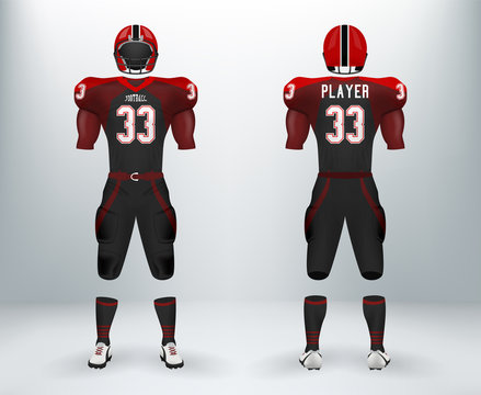 3D realistic of font and back of black and red American rugby football jersey uniforms sets. Concept for template of American football apparel mock up for collage championships in vector illustration