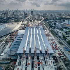 Aerial view of Bang Sue central station, the new railway hub transportation building under construction in Bangkok, Thailand.