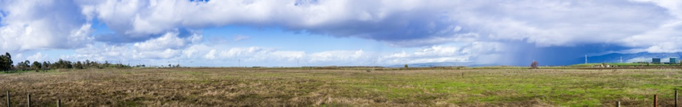 Panoramic view of the grasslands in Baylands Park on a rainy day, Sunnyvale, Santa Clara county, California