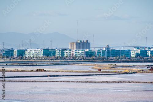 Office buildings on the shoreline of San Francisco bay, salt