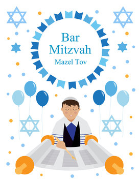 Bar Mitzvah greeting or invitation card with Jewish boy and star of David isolated on white background. vector illustration.
