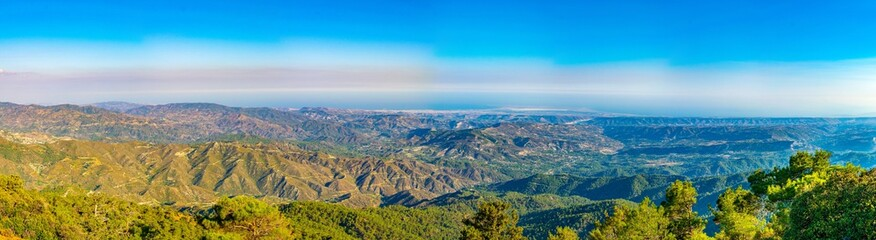 Wall Mural - View towards limassol from troodos mountain on Cyprus