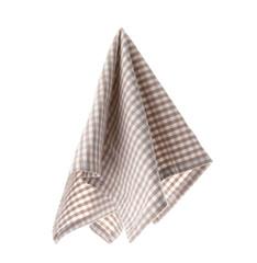 Checkered linen napkin on white background